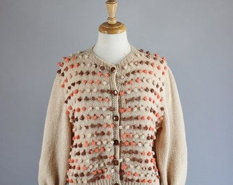 Vintage 60s Women's Beige Orange Autumn Cropped Mod Mid Century Modern Fall Cardigan Sweater