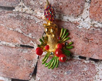 Christmas Pin - Christmas Brooch - Christmas Candle - Holly Pin - Candle Pin - Holiday Jewelry - Vintage Christmas Pin