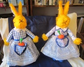 Easter Rabbit Toy, Dressed Easter Rabbit, Yellow Plush Dressed Rabbit, Dressed in Blue and White Fabric, Stuffed Toy for Tots,  Childs Toy.