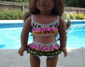 NEW! American Made  Two-piece ruffled Swimsuit to fit 18 inch  doll