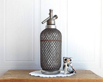 Vintage Seltzer Bottle,Antique Barware,Retro Bar,Kitchen Decor,Vintage Barware,Wrap Siphon Seltzer Bottle,Aerator Ltd Makers London 1950s
