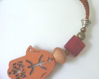 Moroccan  hamsa decorative wooden cut out  beaded charm, earth tones