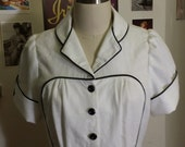 white and black linen blouse