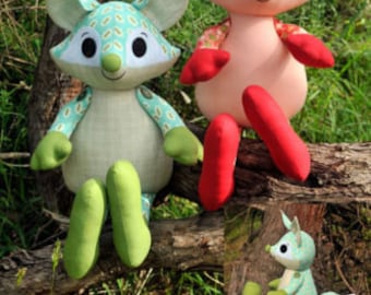 Roxy the Fox Softie Toy Cute Boys Girl - Sewing PATTERN - Fabrics4u2