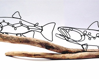 Double Trout Wire Sculpture, Trout Art, Fish Wire Art, Wire Folk Art, 479762249