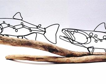 Double Trout Wire Sculpture, Trout Art, Fish Wire Art, Wire Folk Art, 479762249