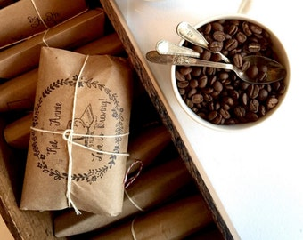 Coffee Wedding Favors. Set of 50.. Rustic Fall or Winter Wedding Favors. Custom Corporate Gifts.