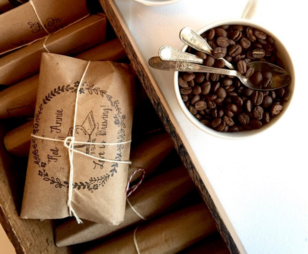 Winter Wedding Gifts: Coffee Wedding Favors. Set Of 50.. Rustic Fall Or Winter