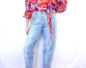 90s Jeans Vintage Denim Pants Womens Trousers Light Wash Blue High Waist Tapered Leg BHDC Size 7 / 8