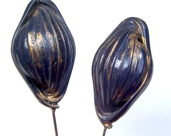 Vintage hat pins matched pair celluloid metallic finish hair jewelry hat ornament ladies hat Victorian Edwardian Art Deco accessory
