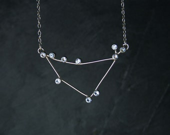 CAPRICORNUS Constellation necklace - sterling silver and synthetic blue spinel, natural garnet or synthetic sapphire -  READY to SHIP
