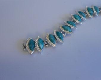 Small Box Under the Tree - Vintage 1950s Kramer Turquoise Green Marbled Pave Rhinestone Link Bracelet