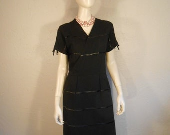 My Tuxedo Nights - Vintage 1950s R & K Black Rayon Tuxedo Stripe Dress - 2/4