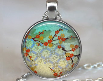 Kimono Flowers necklace, Kimono Flowers pendant, Japanese art necklace, Japanese pendant, Geisha art necklace, key chain