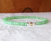 Celadon Jade Delicate Single Strand Gemstone Stretch Bracelet - Other Colors