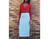 Blu Mid Highewaist Denim Skirt