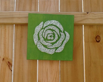 Rose String Art - Rose Wall Decor - White Rose
