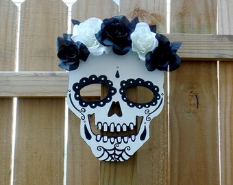 Floral Sugar Skull - Sugar Skull Wall Art - Home Decor - Black & White Skull