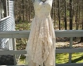 Champagne boho hippie gypsy beach wedding dress, long, ruffled recycled / vintage laces, size 6-10, Small-Medium, by Lily Whitepad