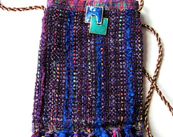 Cell phone purse, purple woven purse, small purse, boho purse, cell phone pouch, cell phone holder, fringed purse, purple purse