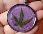 REAL Marijuana Leaf Hemp Necklace - Roach Clip Clasp