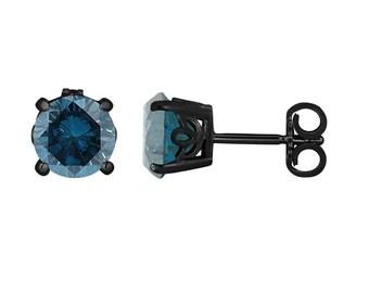 Fancy Blue Diamond Stud Earrings 1.92 Carat 14K Black Gold Vintage Style Gallery Design Handmade Certified