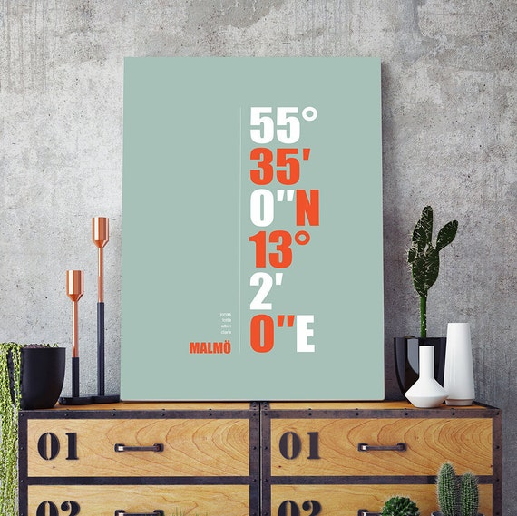 Personalized City Coordinate and text poster print.  Perfect wedding gift! Large A2 print.