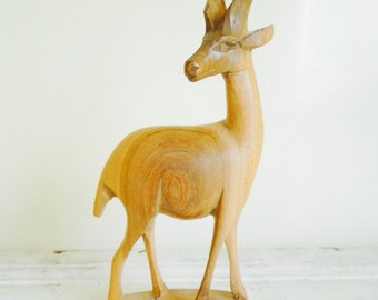 Vintage Wooden Gazelle Figurine, Standing Blonde Wood Sculpture, Mid Century, Made in Kenya