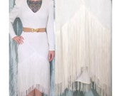 1980s White Fringe Dress, Nightworks Evening Gown Party Dress, Small Medium, Long Sleeved Midi