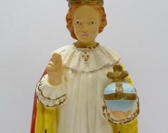 Vintage Religious Statue Infant of Prague Plaster Reliquary Prayer Shrine figurine 17 inch