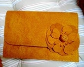 Vintage Camel Beige Suede Clutch Evening Purse with Matching Suede Flower Detail and Gold Chain for Autumn or Winter Special Occasion