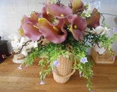 Vintage Victorian Style Plum Real Touch Calla Lily Foliage Floral Basket Arrangement or Alternative Wedding Bouquet OOAK ready to ship