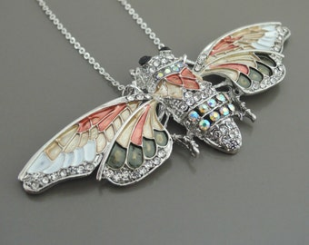Statement Necklace - Butterfly Necklace - Silver Enamel Necklace Upcycle Necklace - Rhinestone Necklace - Bug Jewelry - Handmade