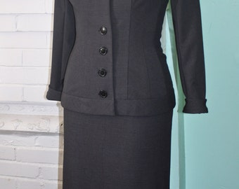 Monroe Suit Jacket and Skirt Grey 2pc- Large Collar- 1950 Pinup Custom Made To Order