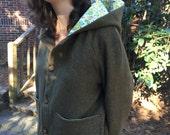 Owlette Hooded Jacket Wool Vintage Floral Geometric Print