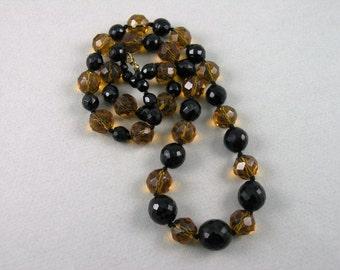 Vtg. Art Deco Faceted Black & Amber Glass Beads Necklace, Sterling