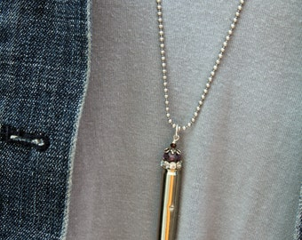 Quartz Crystal Bullet Necklace, Shabby Upcycled Pendant 10 mm Cowgirl