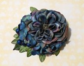Unique antique blue rose with antique blue hydrangea blue millinery berries and matching leaves vintage wedding bridal hairflower hair piece
