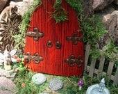 Large fairy Door Set, large red medieval fairy door, Fairy Garden kit, Garden fairy doors, fairy garden decor, woodland decor, 408