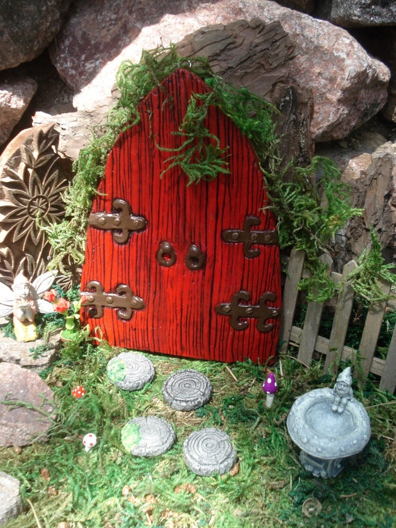 Large fairy Door Set, large red medieval fairy door, Fairy Garden kit, Garden fairy doors, fairy garden decor, woodland decor, 408