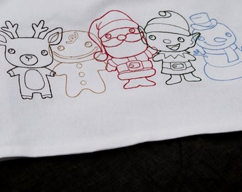 Holiday Characters Embroidered  on a Cotton Kitchen Towel.