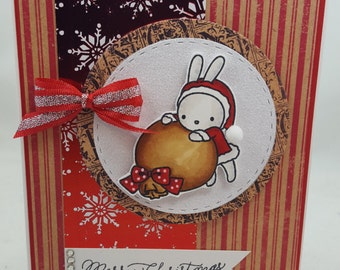Christmas Snow Bunny - Blank NoteCard, Greetings Card, Handmade Card