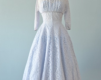 Vintage 1950s Party Dress...Pale Blue Lace Party Dress Wedding Dress Prom Dress