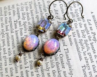 Pink on Fire,Vintage Fiery Pink Oval Glass Opals, Swarovski Aurora Borealis Vintage Rhinestone & Vintage Pearl Earrings, HollywoodHi