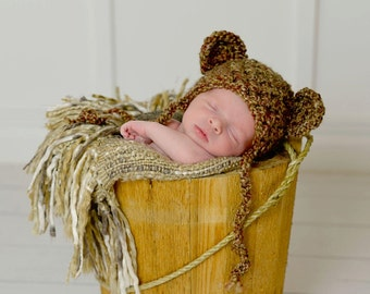 Newborn Teddy Bear Hat Brown Sugar Photography Prop