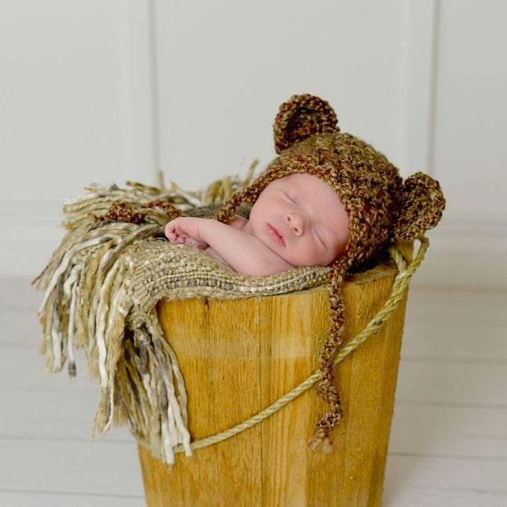 Newborn Teddy Bear Hat Brown Sugar Photography Prop