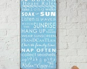 SALE! Beach Rules with Seashore Bunting -Vintage Style Typography Word Art Sign