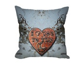 Novelty Pillow Cover, I Love You to the Moon copper heart, throw pillow covers, rocker decor, winged heart, grunge decor, industrial decor
