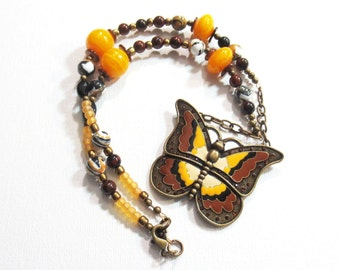 Butterfly Pendant Necklace/Butterfly Necklace/Brown and Mustard Yellow Enamel Pendant/Bronze Chain/Cinnamon Brown/Glass Bead Necklace