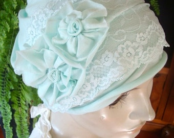 Womens hat Chemo Hat slouchy soft cotton knit pale green two piece headband and hat